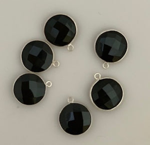 Six Piece a Pack One Loop Real Silver 925  Black Onyx Shape, Size : 15mm