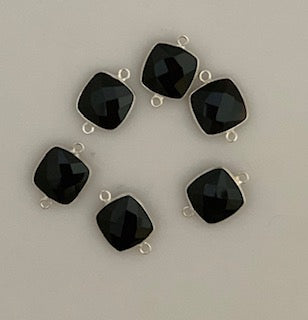 Six Piece a Pack Connector Real  Sterling Silver 925 Smokey Quartz  Cushion Shape, Size : 12mm.