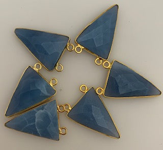 Six Piece a Pack Connector Real Gold Plated Blue Opal Triangle Shape, Size : 10mmX15mm.