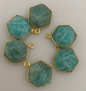 A Pack of Six Pieces One Loop  Real Gold Plated Amazonite Hexagon Shape,Size :12mm.