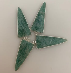 A pack of four Pieces  One Loop Gold Plated Amazonite TriangleShape, Size : 15mmX20mm.