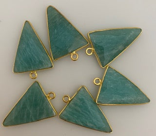 Six Piece a Pack One Loop  Real Gold Plated  Triangle  Shape Amazonite Bezel, Size : 15mmX20mm.