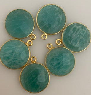 A Pack of six Pieces  One Loop Real Gold Plated Amazonite Round Shape,Size :15mm.