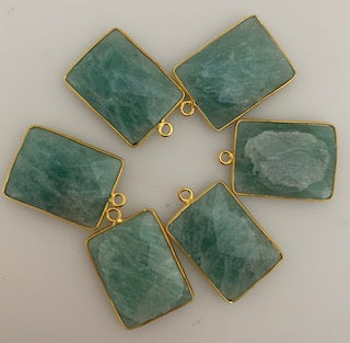 A Pack of six Pieces One Loop Real Gold Plated  Amazonite Rectangle Shape, Size : 15mmX20mm.