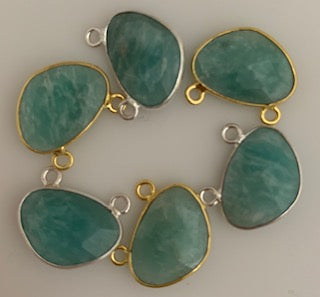 A Pack of Six Pieces Connector Real Gold Plated and Sterling Silver 925 Amazonite H Oval Shape, Size:15mmX20mm.