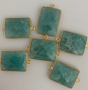 A Pack of Six Piece Connector Gold Plated Amazonite Rectangle Shape, Size:15mmX20mm.
