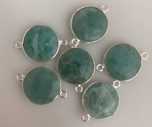 A Pack of Six Pieces a  Connector  Sterling Silver 925 Amazonite Round Shape, Size:15mm