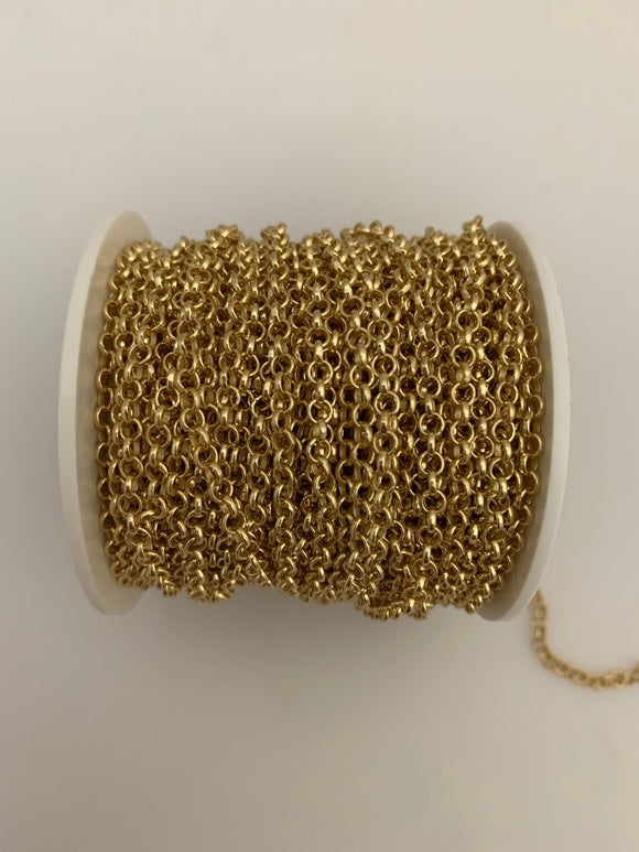3 Feet of Gold Plated Brass Chain. Rolo With Half Round Chain, Smooth and Half Round Wire chain.Gold Plated and E-Coated Chain. Size: 2.8mm (#026GO)