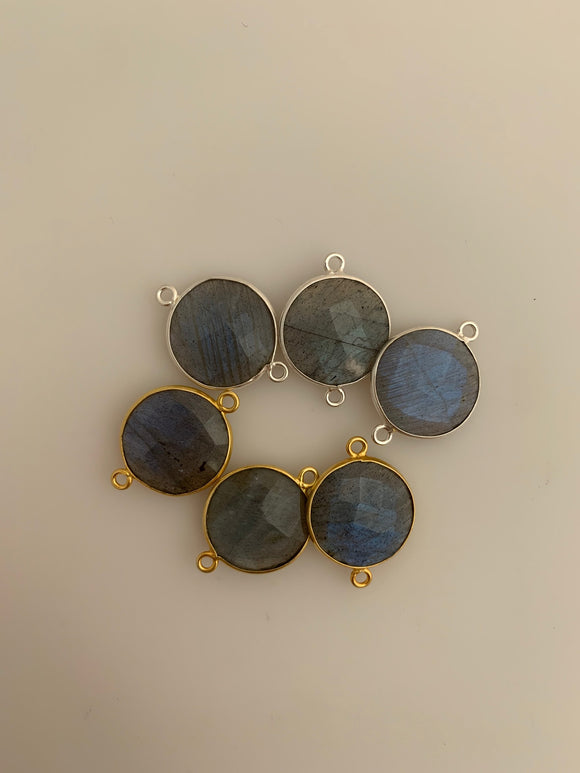 Labradorite Bezel Six Piece a Pack Connector Real Gold Plated and Silver 925 Labradorite  Round Shape, Size : 15mm