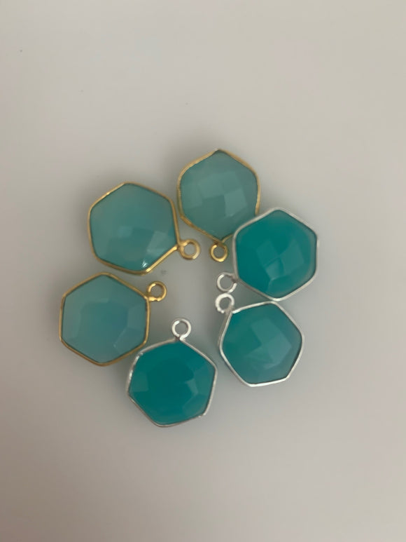 Aqua Chalcedony Bezel Six Piece a Pack one loop  Real Gold Plated and Sterling Silver 925 Aqua Chalcedony Bezel Hexagon  Shape, Size : 12mm.
