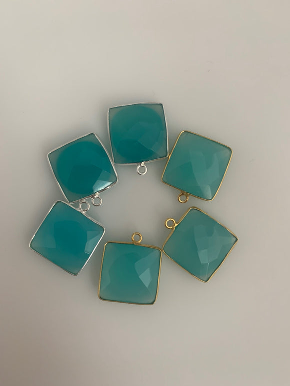 Aqua Chalcedony Bezel Pack of 6 Six Pcs One Loop Real Gold Plated Sterling Silver 925 Aqua Chalcedony Square Shape Bezel  Size : 15mm