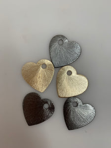 10pcs. Heart Shape Gold Finish, Brushed Finish, E-coated, one hole, Copper/Brass Findings, 25mm#G546