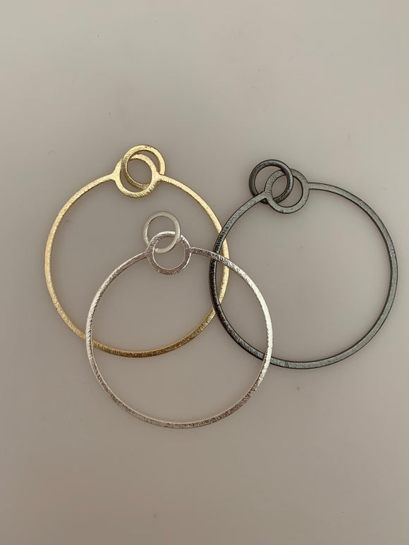 8 Pcs. Gold Plated ,Silver Plated ,Gunmetal Hoops  E-Coated, Handmade,Brushed Finish, Findings/Components Available two Size And three Color