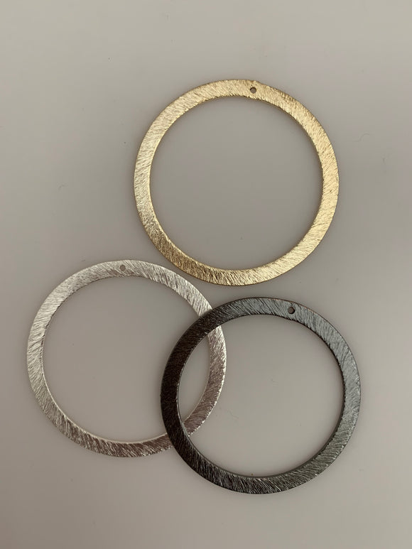 Wide and Brushed Ear Ring Hoops/ Circles. E-coated, Brushed Finish, Handmade Rings/Circles/Hoops. Available in Three  colors and Two sizes.