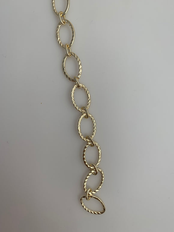 3 Feet of Chain Gold Finish & Silver Plated Patterned Marquise Shape Solid Copper Pattern, Chain sizes: 16mX11m