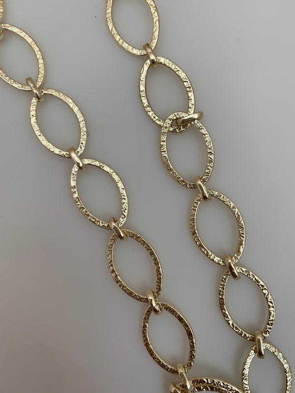 3 Feet of Chain Gold Finish & Silver Plated Patterned Marquise Shape Solid Copper Pattern, Chain sizes: 20mX12m