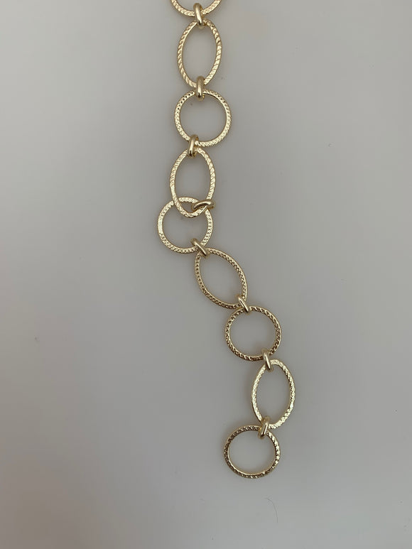 3 Feet of Chain Gold Finish Circle And Marquis Shape Solid Copper Stamped Patterns, Circle 15mm, Marquise 19X13mm Marquise-Circle-Link Chain