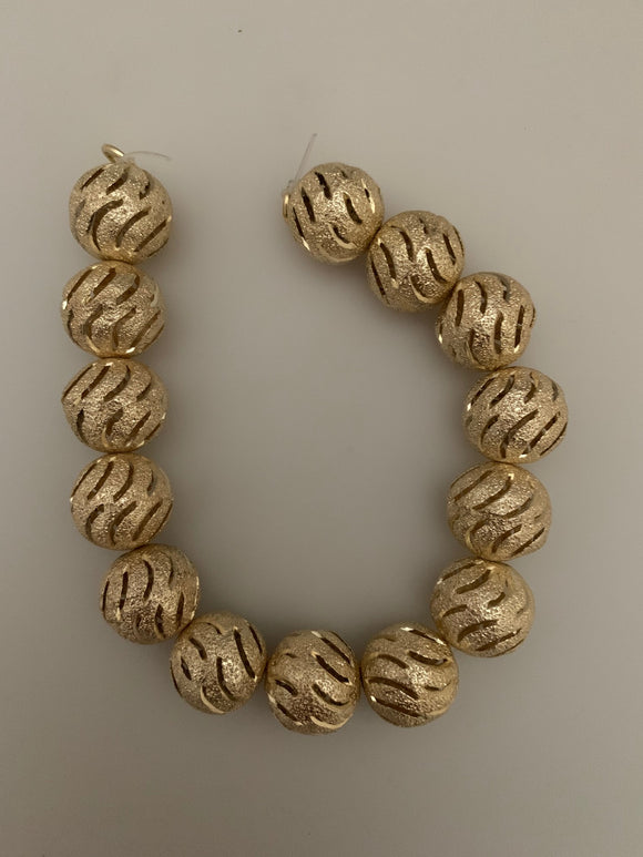 1 Strand of Fancy Shiny  Round Gold Finish,Brushed Finished Round  Beads , E-coated Beads. Bead Size is: 15mm NO-74