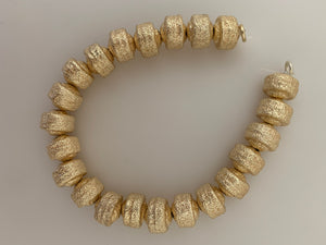 1 Strand of Brushed Finish Fancy Shiny Round Gold Finish Beads , E-coated Beads. Bead Available two Size is: 8mm and 11mm