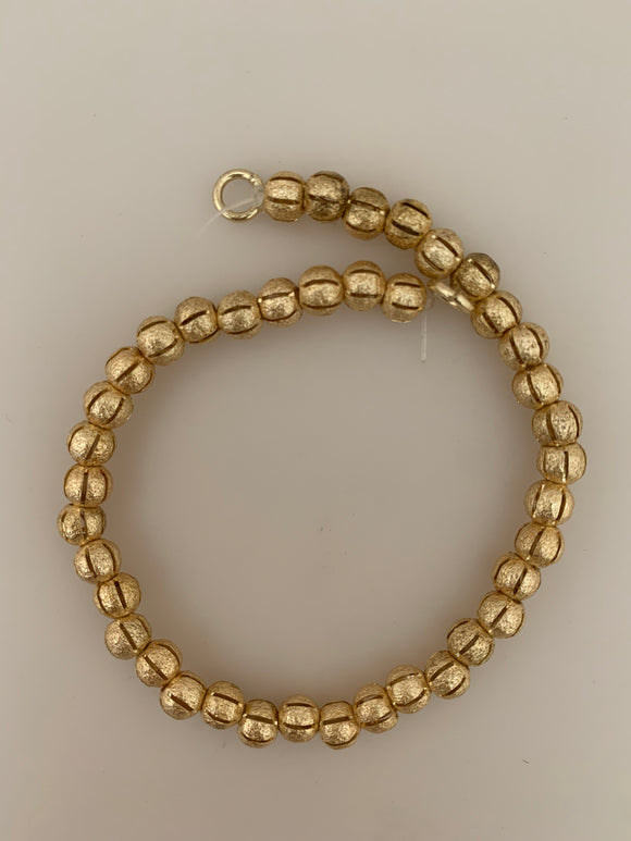 1 Strand of Decorative Beads,Round Shiny Gold Finish,  Brushed Finish, E-coated (about 34 to 40 Beads) Size: 5mm and 6 mm