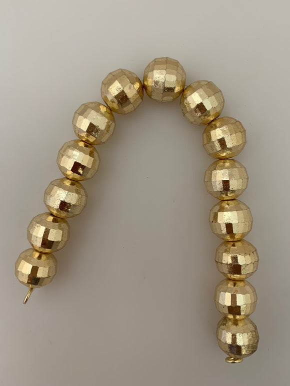 1 Strand of Brushed Finish Fancy Shiny Round Gold Finish Beads , E-coated Beads. Bead Size is: 15mm NO-82