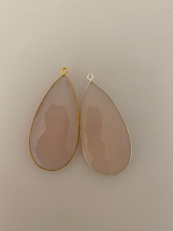 Rose Quartz  1  Pieces One Loop Real Gold Plated and Sterling Silver 925 Rose Quartz Tear Drop Shape, Size : 24mmX46mm.