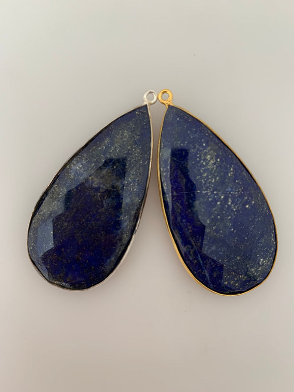Blue Lapis 1  Pieces One Loop Real Gold Plated and Sterling Silver 925 Blue Lapis Tear Drop Shape, Size : 24mmX46mm.