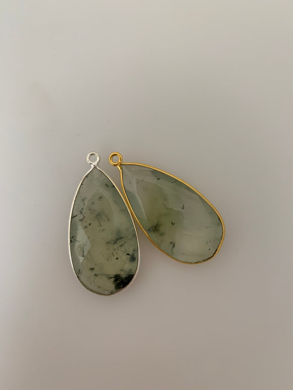 Prehnite  1 Pieces  One Loop Real Gold Plated and Sterling Silver 925 Prehnite Tear Drop Shape, Size : 30mmX17mm.