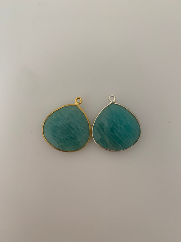 Amazonite 1 Pieces One Loop Real Gold Plated and Sterling Silver 925 Amazonite Hear shape Shape, Size : 21mmX21mm.