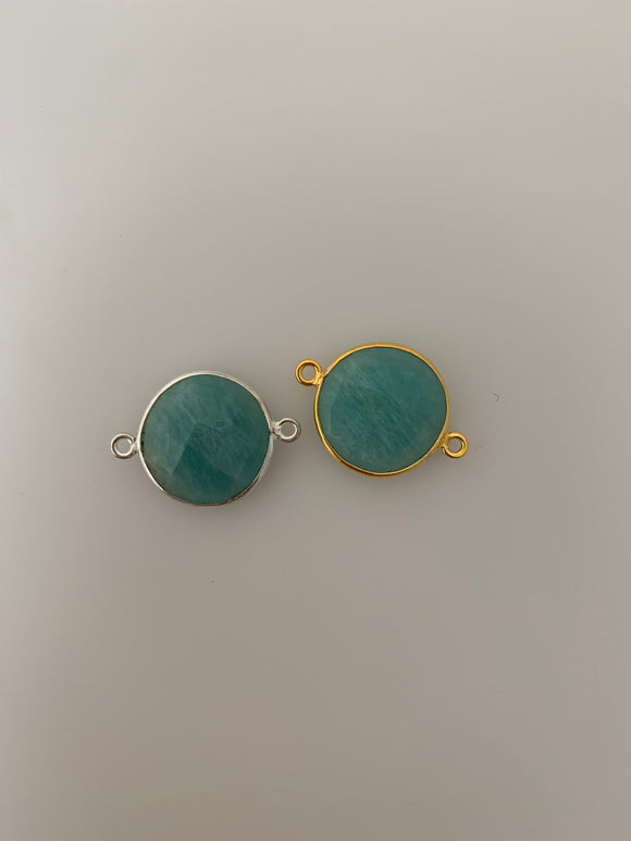 Amazonite  1 Pieces Connector Real Gold Plated and Sterling Silver 925 Amazonite Round  Shape, Size : 17mm