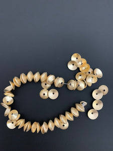 A Strand of Bead Caps, End Caps, Brushed Finish, E-Coated, Available 2 Colors: Gold Finish & Silver Plated, About 54 caps, Size-10mm #NO-20