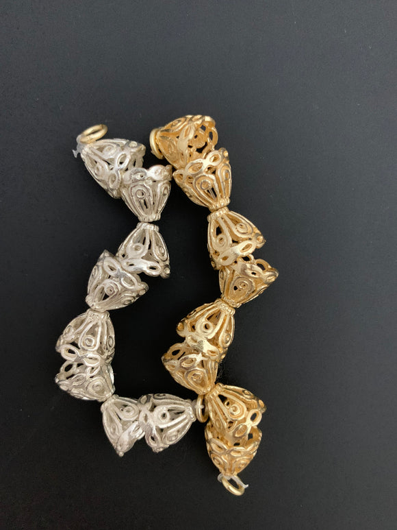 1 Strand of Decorative Cones Available in 2 colors- Gold Finish And Silver Plated, End Caps, Cones, Sizes: 12mmX11mm #NO-21