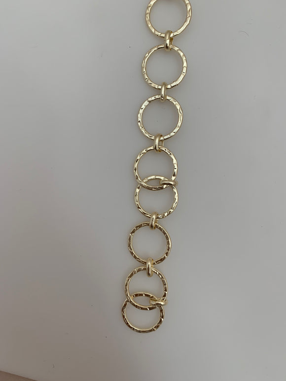 3 Feet of Chain Gold Finish & Silver Plated Patterned Circle  Shape Solid Copper Pattern, Chain sizes: 15mm # Cain 22 G