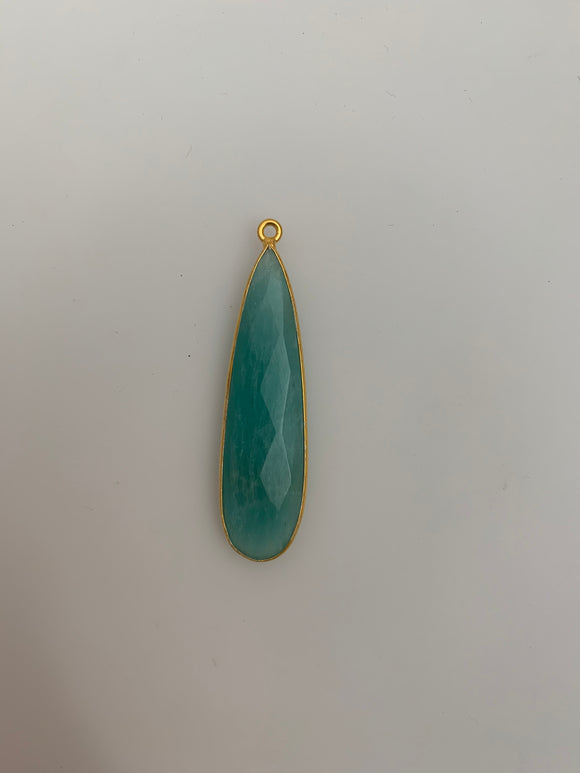 Amazonite One Piece Gold Plated Natural Amazonite  One Loop Bezel Tear Drop Shape, Size : 39mmX11mm # H-28