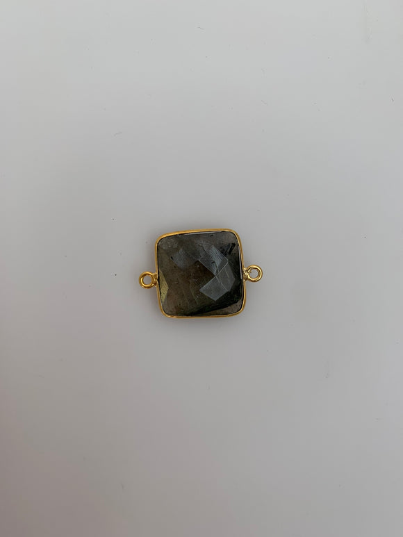 Labradorite One Piece  Gold Plated Connector Bezel Square   Shape, Size : 16mm H-18