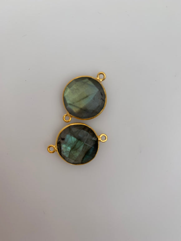 Labradorite  1 Pieces Connector Real Gold Plated Over sterling silver  Labradorite  Round  Shape, Size : 16mm H-17