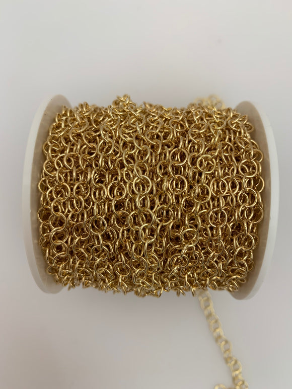 3 Feet of Oval Cable Chain. Natural Gold . E-Coated,Light Yellow Gold  Chain Electro Plated.Size: 3.1mmX4.0mm  #060GO