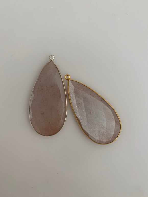 Peach Moon Stone Bezel 1  Pieces One Loop Real Gold Plated and Sterling Silver 925 Peach moon Stone  Tear Drop Shape, Size : 24mmX46mm.