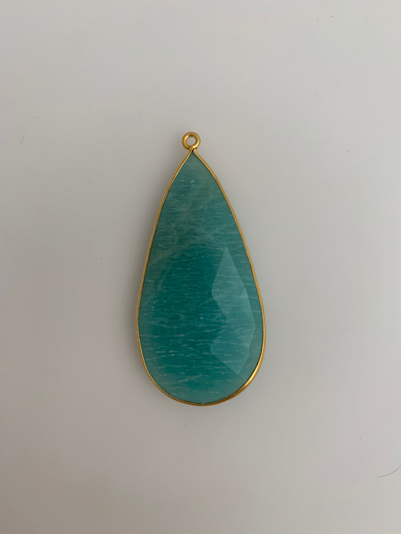 Amazonite Pack of one pieces  One Loop Bezel Real Gold Plated  Amazonite Bezel Tear Drop Shape, Size : 24mmX46mm.H-6