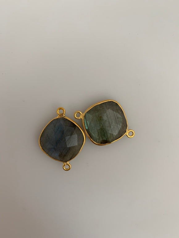 Labradorite  1 Pieces Connector Real Gold Plated  Labradorite  Round Shape, Size : 16mm