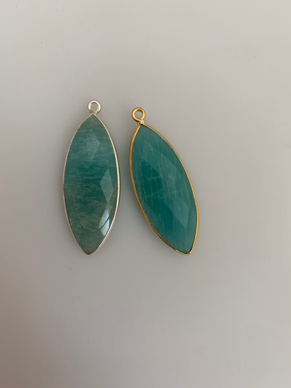 Amazonite  Bezel Pack of 1 Pieces One Loop Real Gold Plated And Sterling Silver Amazonite Marquise  Shape, Size 33mmX14