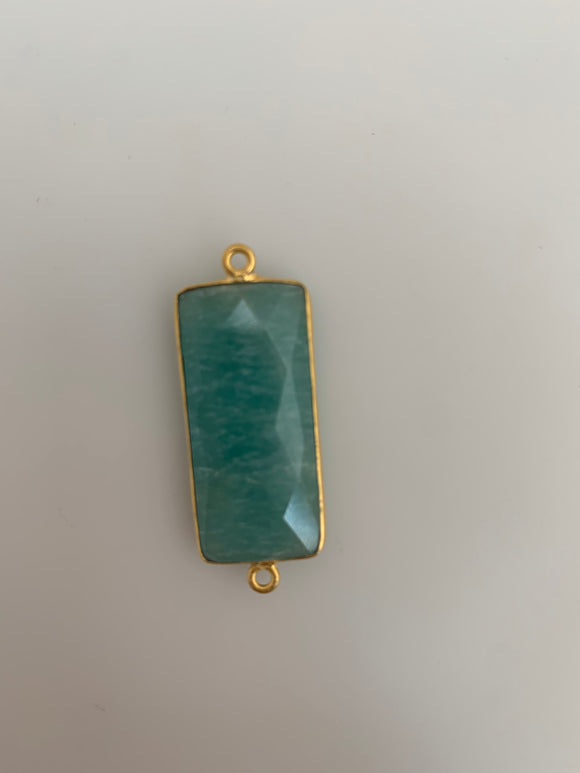Amazonite One Piece Gold Plated Natural Amazonite Connector Bezel Rectangle Shape, Size : 28mmX14mm # H-20