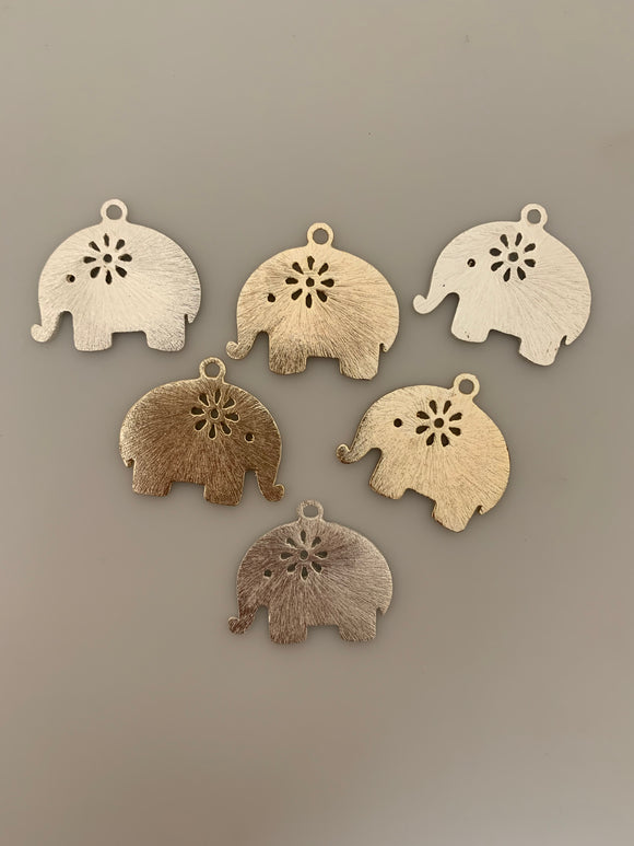 Elephant shaped Charms, Gold Finish,and Silver Plated  E-coated, Brushed Finish.