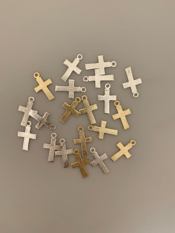 15 Pcs. Gold Finish And Silver Plated  Cross Pendant, E-coated, Brushed Finish, Handmade Components/findings
