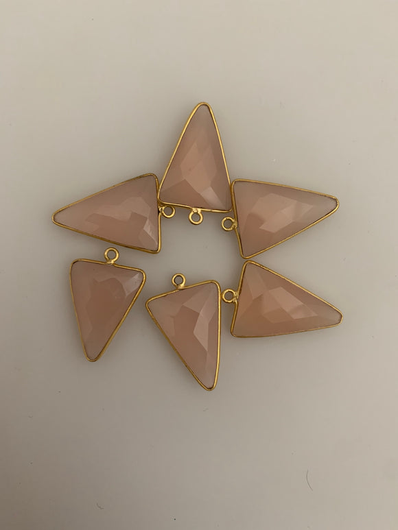 Pink Chalcedony a pack of Six Pieces One Loop Real Gold Plated  Pink Chalcedony Triangle Shape, Size : 15mmX20mm. DM -685