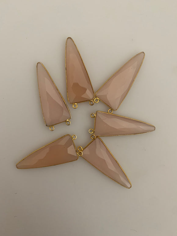 Pink Chalcedony a Pack of Six Pieces Connector Real Gold Plated Triangle Shape, Size : 15mmX35mm.