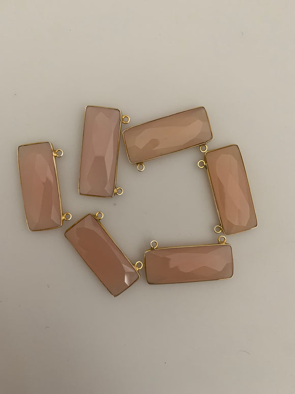 Pink Chalcedony  Bezel Pack Six Pieces Connector Real Gold Plated Pink Chalcedony  Rectangle Shape, Size : 12mmX30mm. DM 329