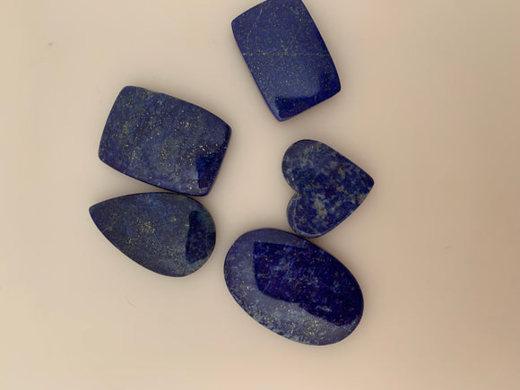 5 Pieces Lot of Lapis Cabochons. Natural, Highly Polished, Great Quality, Different Shapes and Sizes, (Between 21mX23mm and 22X35mm)