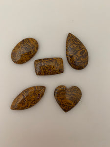 5 Pieces Lot of Mariam  Jasper Cabochons. Natural, Highly Polished, Great Quality, Different Shapes and Sizes, (Between 17mmX27 and 18mX40mmm)