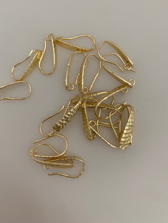 20 Pcs of Gold Finish  Hammered Fancy  E-Coated,  Ear wires, Findings, Metal Ear wires, Copper Ear wires Size :19 mm X 10 mm #G 1016